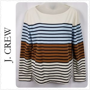 J. Crew Striped Boat Neck Cotton T-Shirt Large